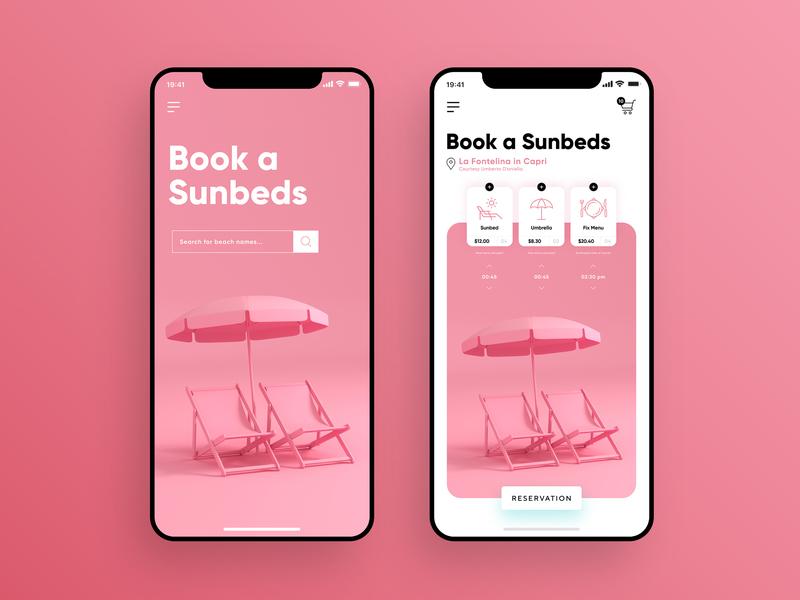 Book A Sunbeds / UI Design main page search toolbar shopping pink wireframe sale shop summer sunbed rental umbrella beach illustration design app branding app design ux ui