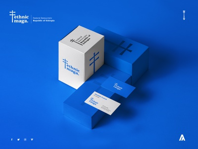 Ethnic Maga / Block block box corporate branding ethiopia ethnic gradient blue color web logo card mockup illustration design