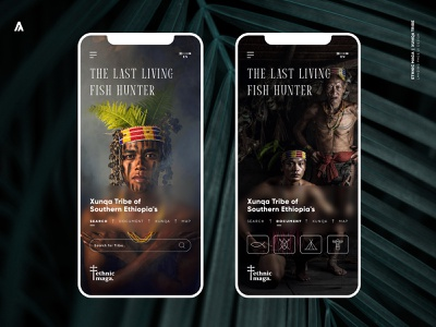 Ethnic Maga - Xunqa Tribe / Mobile Landing Page menu type search bar button amazon tribe forest ux app branding web app uidesign ui design nature color adobe xd