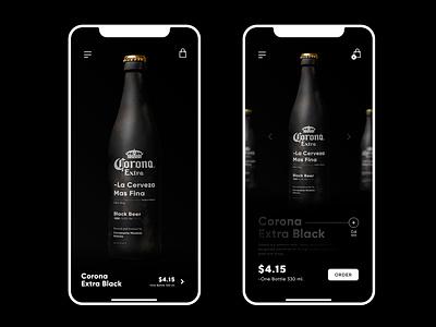 Corona Extra - Black Beer / Order Page design bar black  white luxury sale order bottle web uidesign app branding ux ui app beer
