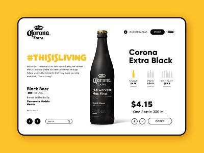 Corona Extra - Black Beer / Web Page price order sales page toolbar layout corona webdesign matte black ux ui design bottle beer