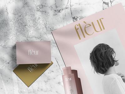 Fleur skincare branding print design logo elegant logo design print design blush feminine brand identity brand design branding skin care skincare