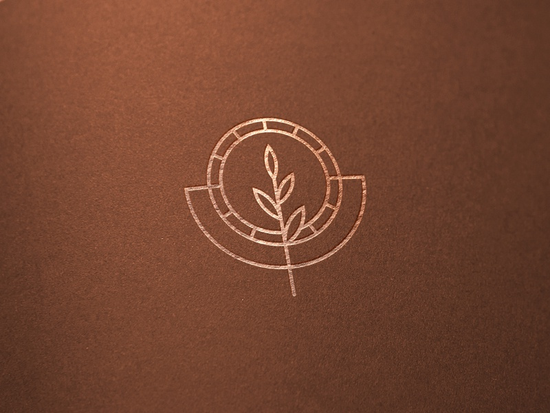 Logomark for olive oil manufacturer foil stamping print elegant branding logo logomark saint olive branch olive oil olive