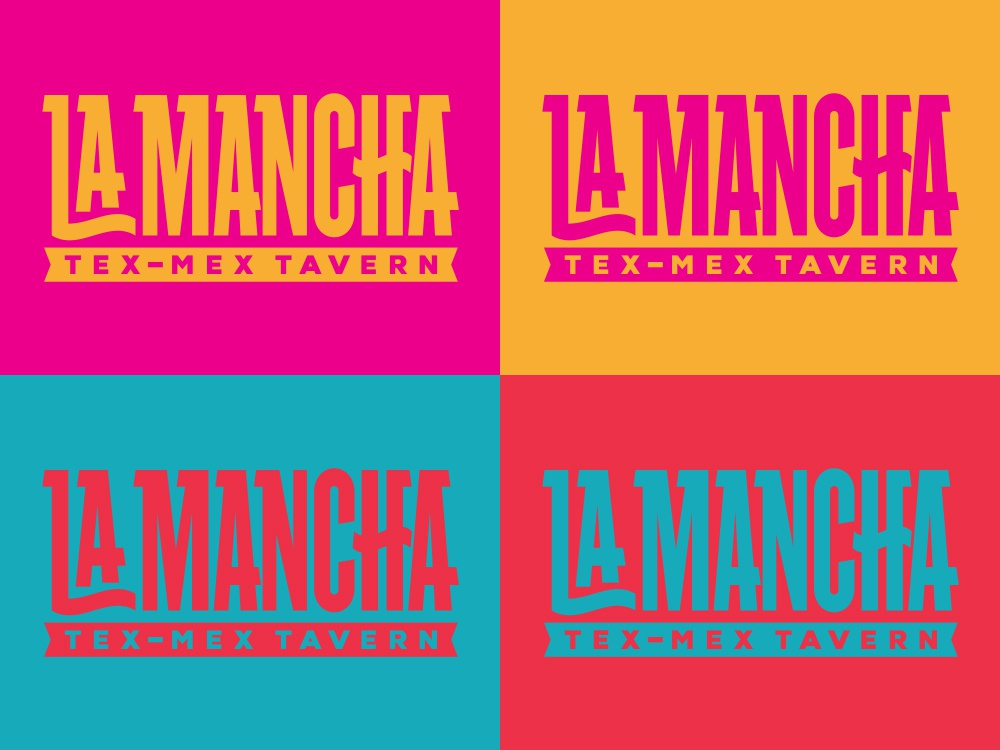 La Mancha Tex-Mex Tavern logo type lettering typography illustration logo design branding