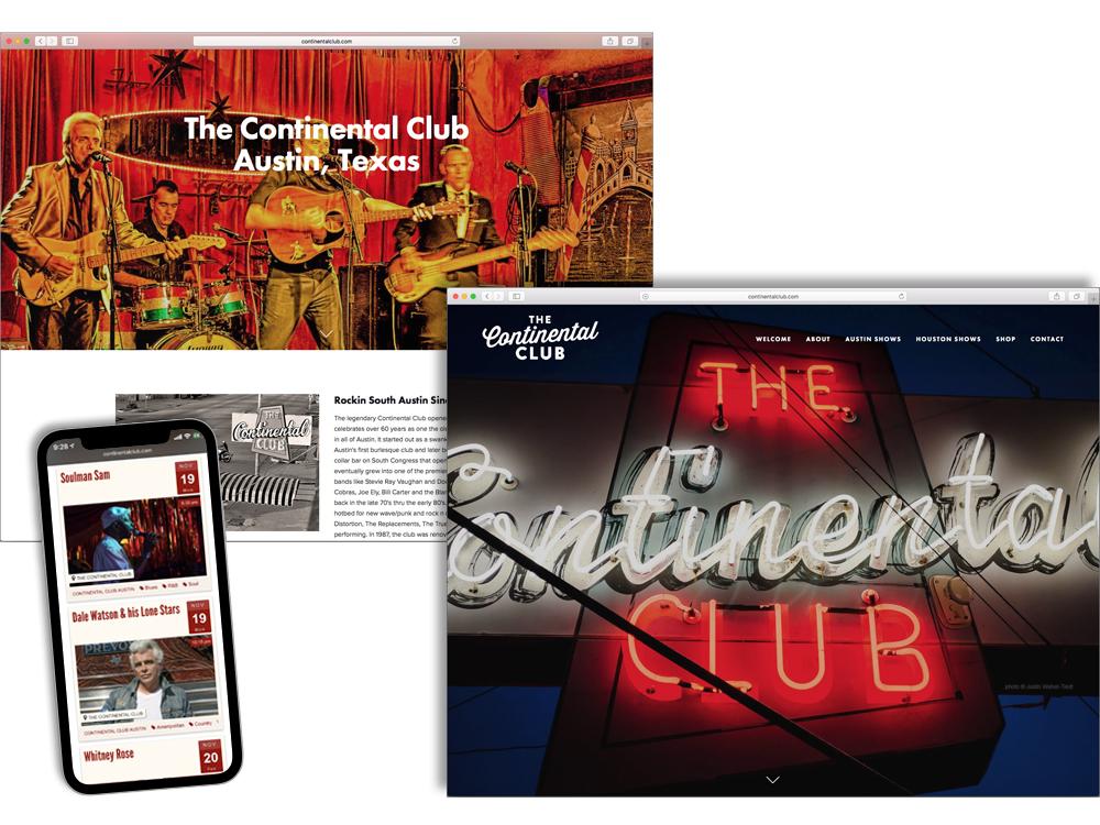 The Continental Club website web design branding website design