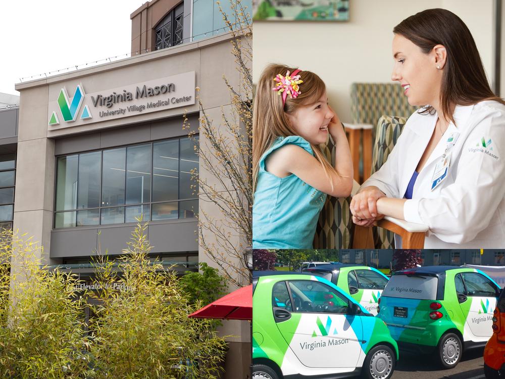 Virginia Mason Medical Center brand applications logo environmental design signage branding design