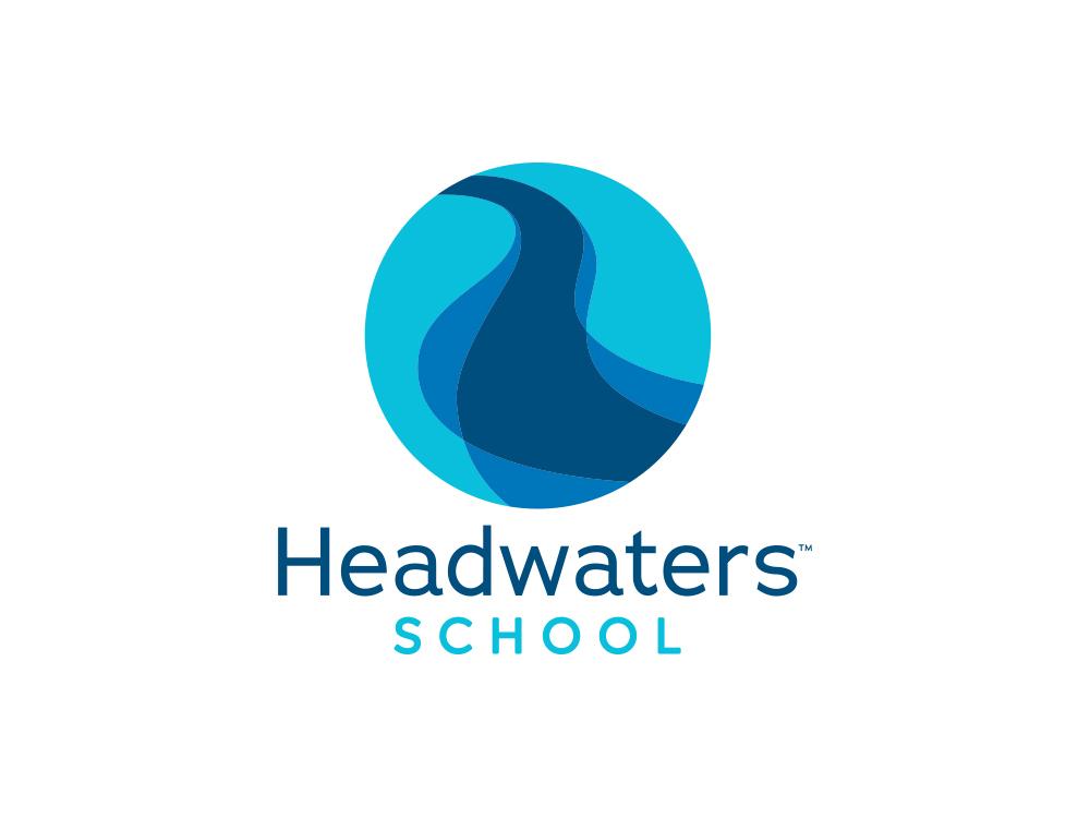 Headwaters School Logo icon illustration logo branding design