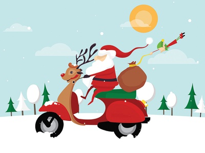Santa Vespa mangoline flat vector illustration vespa funny greeting santa christmas