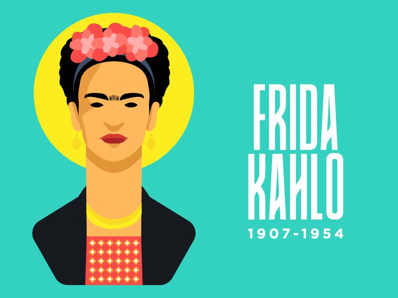 Frida Kahlo art design mangoline frida minimal character illustration