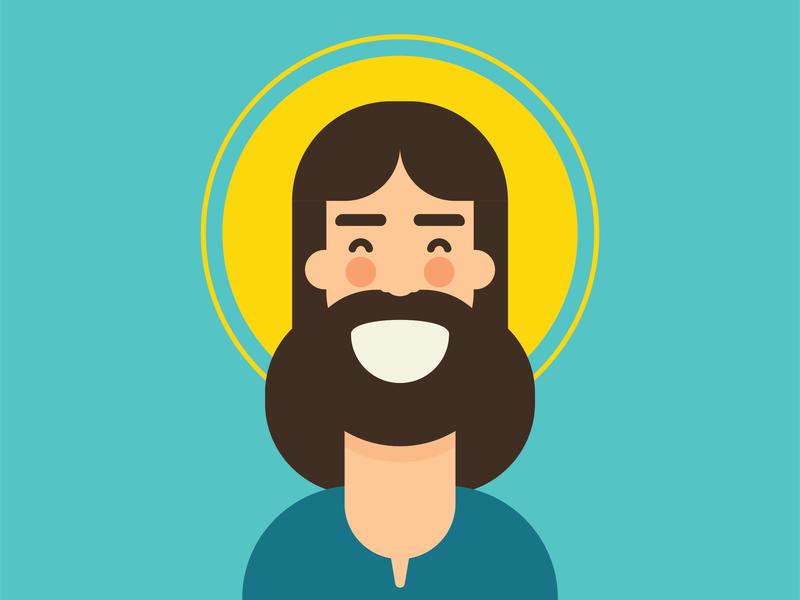 Jesus Smile flat minimal jesus illustration vector design character mangoline