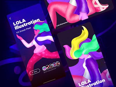 Lola illustration kit - Sneak Peek girl colors affinity ipad amazon mobile gradient graphic design character art minimal website flat web icon vector branding ui design illustration
