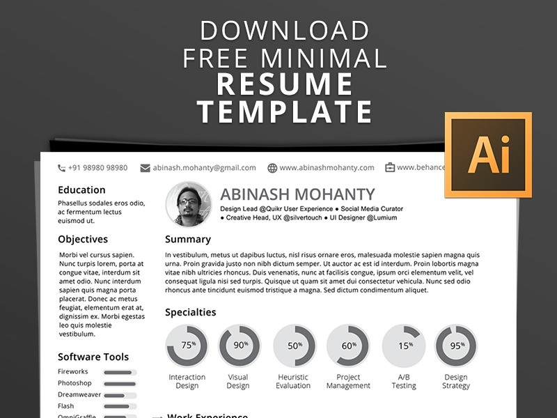 A4 Resume Template Dribbble