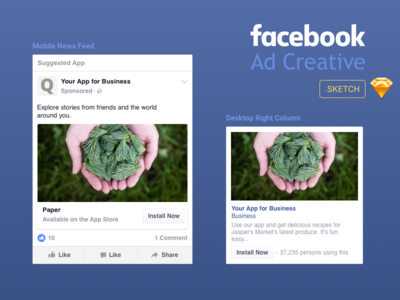 Facebook Ad creative template in Sketch format free template download interface facebook ad web ux ui design sketch