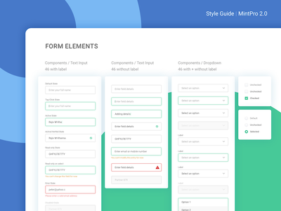 Product Style Guide In Progress design style sheet hybrid app colors mobile form insurance styleguide ui kit style guide