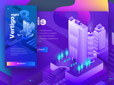 Vertigo Eight ePublishing minimal sketch ui 3d illustration product design icon colors isometric web branding