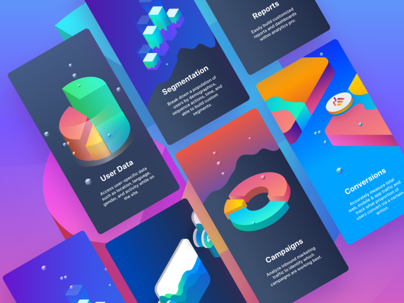 App Analytics Pro User Onboarding colours onboarding app graphics 3d infographic chart graph isometric dashboard colors interface icon sketch illustration branding web ux design ui