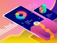 Product Analytics Pro Shots For Its Landing Page app data analytics dashboard analytics 3d isometric vector colors illustration sketch branding ux web design ui