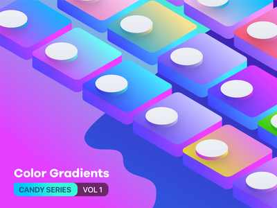 2 Color Gradients Candy Series Vol 1 blue magenta orange cyan palette yellow green pink swatch colorswatch isometric colour sketch gradient colors