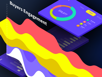 Sellers Dashboard - B2B 1.4 WIP in Isometric grid for promotion graphics 3d isometric ui ux blue purple flipkart amazon sell mobile app web gradient colors analytics graph chart charts dashboard