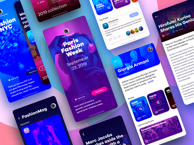Fashion eMag App iOS 1 4 iphonex clean design clean purple branding app design sketch discover blue interface ux uiux graphics uidesign product ui colors ios app fashion