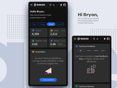 Dark Mode - Salesla Dashboard - Mobile Screen - Amazon Sellers responsive web pwa app mobile customer flipkart sale sellers uiux design theme clean product ux ui dark amazon salesla dashboard