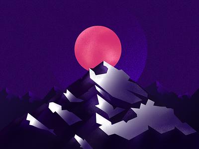 illustration - Night Mountain Alive purple affinity vector design graphic design idea concept art dark night texture colors sun nature mountain illustration
