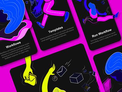 Workflow - Onboarding Screen WIP people human girl desktop texture colors graphics graphic design concept affinity sketch vector web app onboarding illustration interface design ux ui