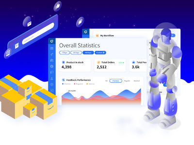 Salesla - Sell Faster - Amazon Sellers isometric graphics graphicdesign b2b design character home gradient colors dashboard stats salesla selling sale amazon ux ui blue illustration landing