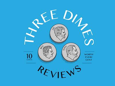 Three Dimes: Podcast Title Card flatdesign monoline head halftone three dime podcast
