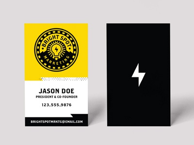 Brightspot Marketing Business Cards business card bright marketing bulb logo circle bolt