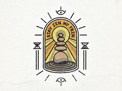 Zen Badge logo design illustration distressed light rocks badge vintage zen