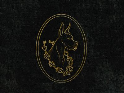 The Greatest Dane illustration logo gold dane great laurels crest dog