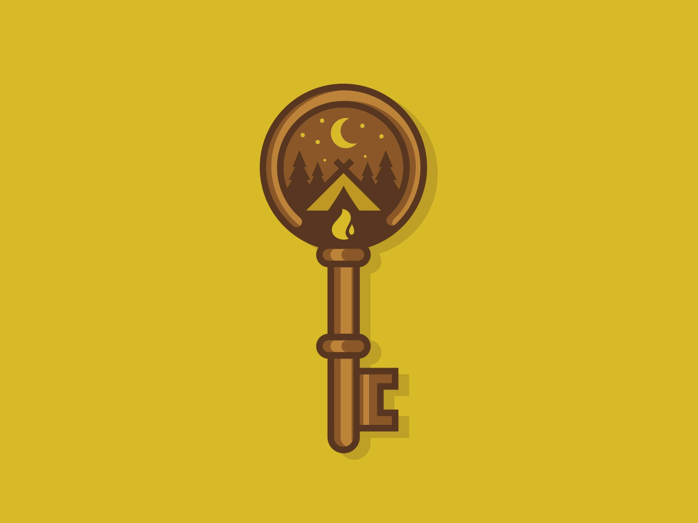 Key To Happiness vector branding and identity branding design illustration logo lock stars forest trees moon outdoors fire tent key