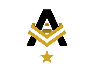Elite Athlete Branded A sport medal gold vector triathlon professional a logo letter ribbon star badge sports athlete brand identity logo