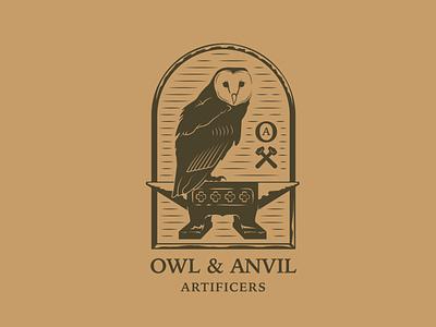 Owl & Anvil owl anvil dribbble illustration illustrator owl illustration logo design logos logo branding design brand identity branding