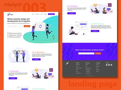 Daily UI 003 - Landing Page uiux dailyui branding landing page web design website design ui