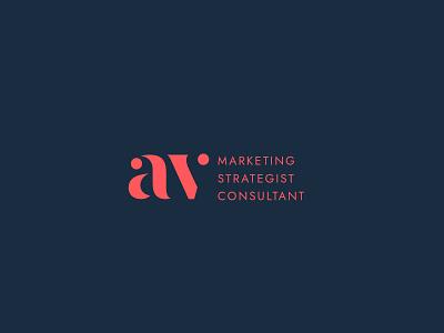 Logotype Monogram  AV dots clean design navy blue corail pinky stencil consulting logo consultant marketing monogram logo logo design logotype v a av