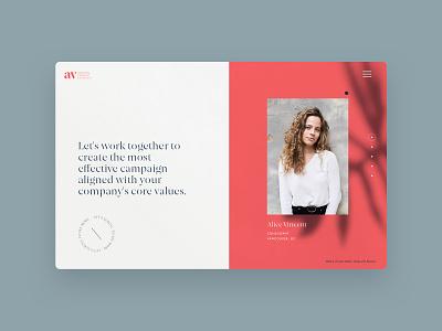 Website alice vincent landing page microsite website marketing logo design consulting logo consultant clean design av