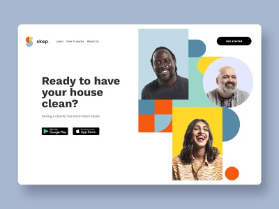 skep landing page landing page concept colorful peoples cleaning services branding logo design ui  ux logo design website design ui website ui design clean design