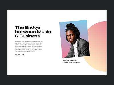 The Bridge Between Music & Business webdesign graphicdesign gradient design gradient colorful branding landing page design ui  ux website design ui website ui design clean design