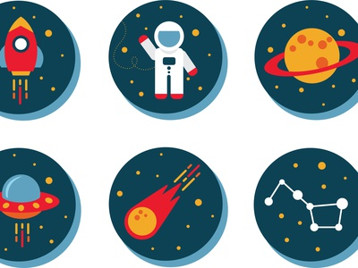Space Icons illustration saturn jupiter shooting star astronomy the big dipper flying saucer ufo alien meteor astronaut rocket planets stars outerspace spaceship space