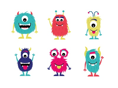 Monster Characters character cute illustration friendly silly ogre beast creature cute cyclops monster monsters