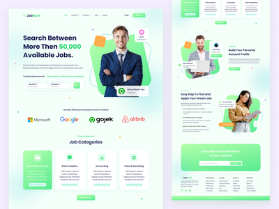 Jobhunt - Job Recruitment Landing Page green ecommerce jobs job application resume cv office vacancy recruitment jobfinder job website design website web landing page landingpage uidesign user interface ui exploration design
