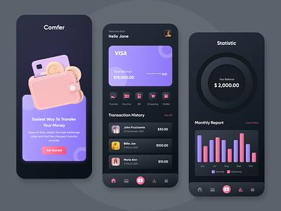Comfer - Fintech Application dark money transfer money mobile apps mobile transfer financial application fintech uidesign ui user interface exploration design