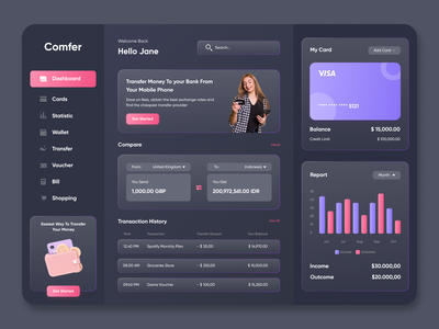 Comfer - Fintech Dashboard dark graphic design uidesign user interface ui exploration design