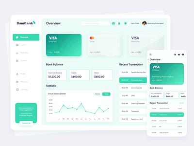 BamBank - Digital Bank Dashboard app bank dark chart statistic banking digital bank finance uidesign user interface exploration design dashboard ui