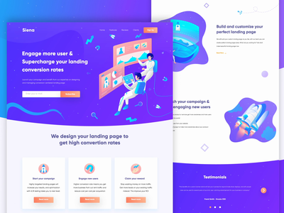 Seina - Conversion Rate Optimization Landing Page rocket icon ux userinterface space vector conversion rate optimisation conversion rate website design website web user interface uidesign ui landing page landingpage illustration exploration design animation