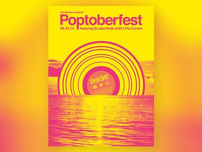 Poptoberfest poster shinebox happy hour music dj helvetica record yellow pink punk minneapolis minnesota