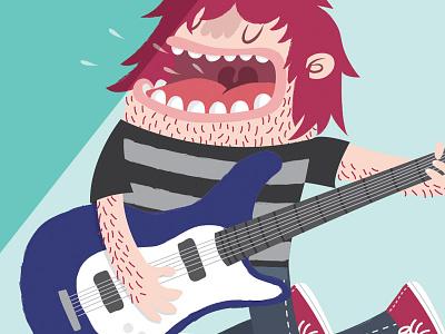 Guitar guitar sing band music rocker rock illustration vector