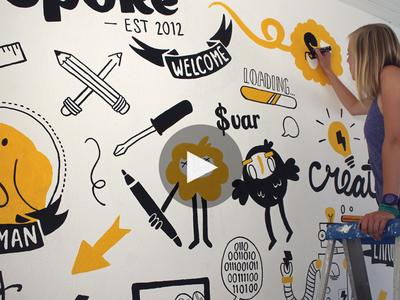 Mural Wepoke mural wall posca molotow video timelapse monster robot startup office california san francisco